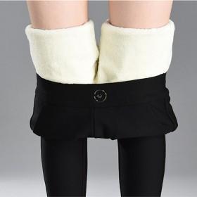 羊羔绒高弹力保暖裤女秋冬加绒加厚高腰休闲打底裤大码