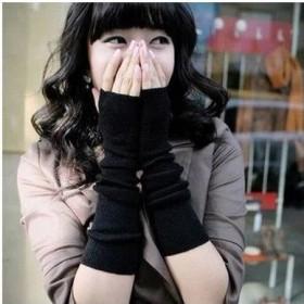 韩版秋冬女士露指毛线手套长手套手臂套半指手套保暖