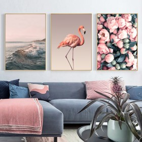 欧风格客厅ins装饰画 花朵火烈鸟床头挂画餐厅三联