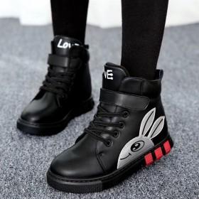 加絨加厚女童靴子新款兒童靴女鞋短靴