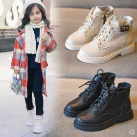 女童马丁靴秋冬加绒短靴童鞋中大童保暖鞋儿童靴子