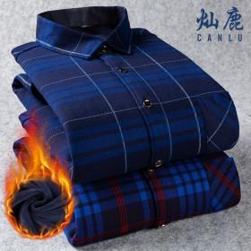 秋冬季格子保暖衬衫男士加绒加厚长袖纯色衬衣宽松大码