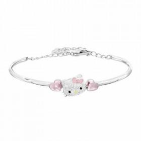 新款KT猫粉色桃心水晶爱心形手镯手环925纯银时尚
