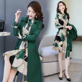 女秋季连衣裙风衣两件套