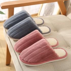 新款兔毛棉拖鞋情侣棉拖秋冬男女室内外地板防滑厚底保