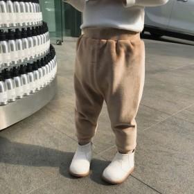 宝宝打底裤加绒加厚儿童秋冬装女童海岛绒护肚裤外穿P