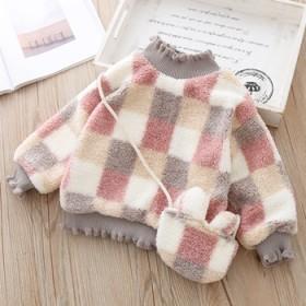 儿童加绒格子卫衣冬季女童毛毛套头衫高领洋气女幼童加