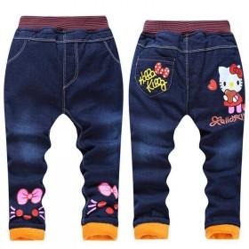 儿童棉裤男童牛仔棉裤女孩冬季长裤女童加绒加厚牛仔裤