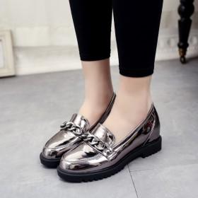 內增高女鞋春季新款韓版百搭淺口英倫風一腳蹬單鞋