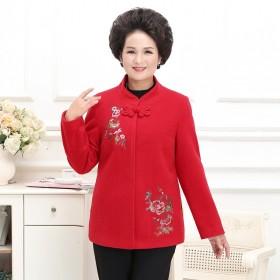 中老年女裝唐裝媽媽秋冬毛呢外套