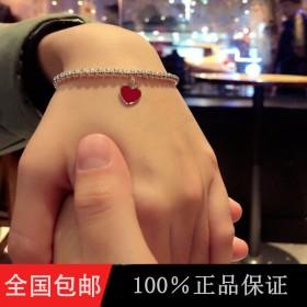 手链新款红色珐琅蓝心形纯银圣诞节礼物送女友网红同款