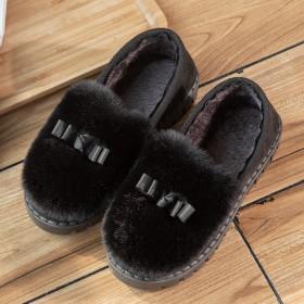 棉鞋女加絨防滑軟底豆豆鞋冬季毛毛鞋室內媽媽低幫鞋