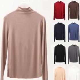 秋季新款韓版女裝無痕高領T恤莫代爾純色大碼打底衫