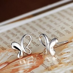 925银蝴蝶耳钉纯银耳饰镀白金