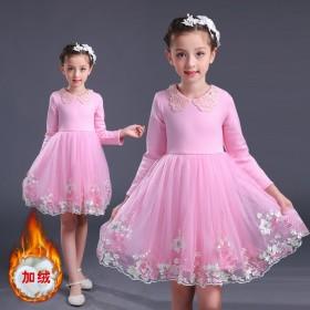 女童公主裙秋款加絨加厚蓬蓬裙收腰百搭連衣裙