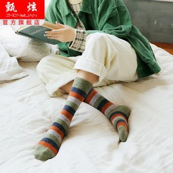 秋冬羊毛袜复古条纹