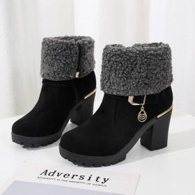 冬季马丁鞋女韩版短靴高跟粗跟中跟磨砂侧拉链棉鞋