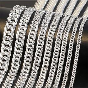 银链子纯银平链双环银链男士项链坦克链