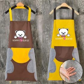 可擦手围裙女厨房防水防油围裙男时尚口袋干活罩衣做饭