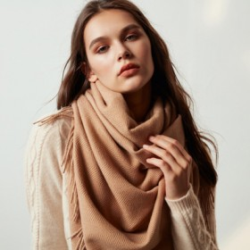 羊毛圍巾女士秋冬季加厚韓版純色雙面披肩羊絨百搭圍脖