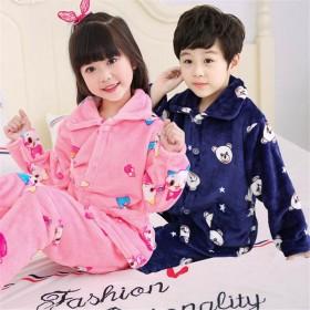 秋冬季儿童睡衣法兰绒男女童珊瑚绒家居服长袖两件套