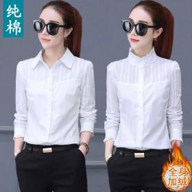 百分百纯棉加绒白衬衫女长袖韩版衬衣秋冬打底衫