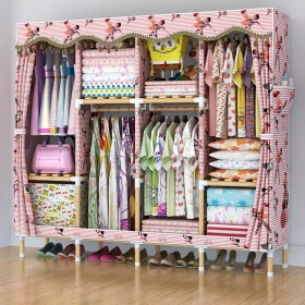 1.7米简易衣柜实木大号衣架收纳架储物柜置物架衣柜