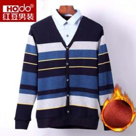 紅豆襯衫領男加絨加厚保暖假兩件針織長袖T恤11S