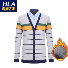 品牌男裝加絨加厚保暖假兩件T恤針織長袖T恤05A