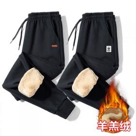 秋冬季运动裤男士加绒加厚休闲长裤子男仿羊羔绒修身保