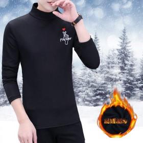 加絨保暖長袖學生男半高領青少年韓版修身冬季潮流T恤
