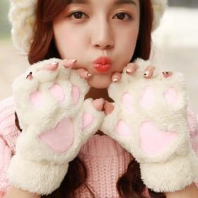 冬季韩版可爱女生露指纯色毛绒手套猫爪带绳保暖手套