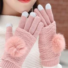 半指全指两用手套女冬季可爱韩版百搭学生保暖触屏针织