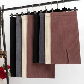 中长款针织毛线裙裙子秋冬新款开叉半身裙一步裙