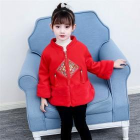 雙11女童紅色改良旗袍冬中國風唐裝加厚棉衣外套冬裝