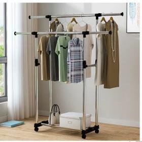 晾衣架落地折叠室内外阳台双杆式凉晒衣架挂衣杆被子架