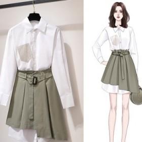 白色襯衫長袖連衣裙初秋季2019年流行裙子套裝兩件
