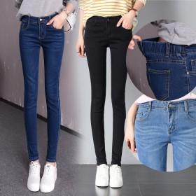 松緊腰牛仔褲女韓版新款高腰褲子緊身顯瘦小腳鉛筆秋