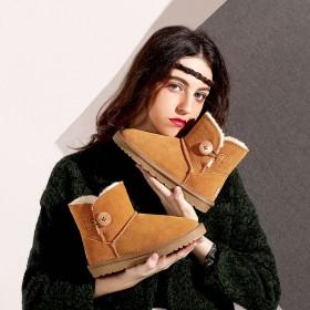 真皮雪地靴女2019冬季新款加絨加厚防滑中筒棉靴