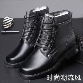 牛皮男靴冬季真皮軍靴春秋季男士棉鞋羊毛保暖雪地短靴