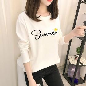 春秋新款韓版爆款女式長袖T恤女打底衫學生上衣女裝圓