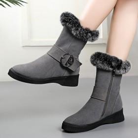 雪地靴女鞋2019新款冬季棉鞋厚底加絨平底毛毛短靴