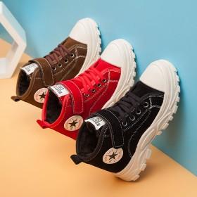 兒童運動鞋男童女童軟底魔術貼加絨保暖加厚布面休閑鞋