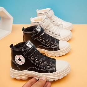 兒童運動鞋男童女童軟底魔術貼加絨保暖大棉加厚休閑鞋