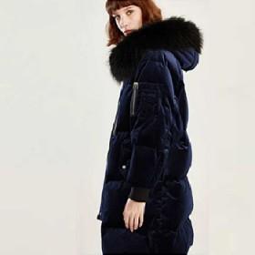 冬裝新款絲絨羽絨服女中長款連帽毛領