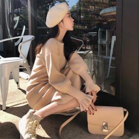 新款韓版修身圓領針織連衣裙女中長款打底毛衣裙