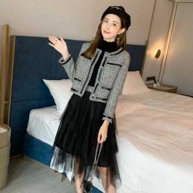 秋季新款韓版圓領粗花呢短外套網紗半身裙兩件套裝女