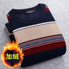 秋冬新款加絨毛衣男圓領打底衫中青年長袖T恤針織衫