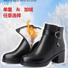 秋冬季短靴女粗跟冬加絨加厚中年皮鞋女靴子保暖中跟媽