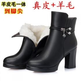 100%软头层牛皮棉鞋女冬季加绒靴女马丁靴高跟皮鞋